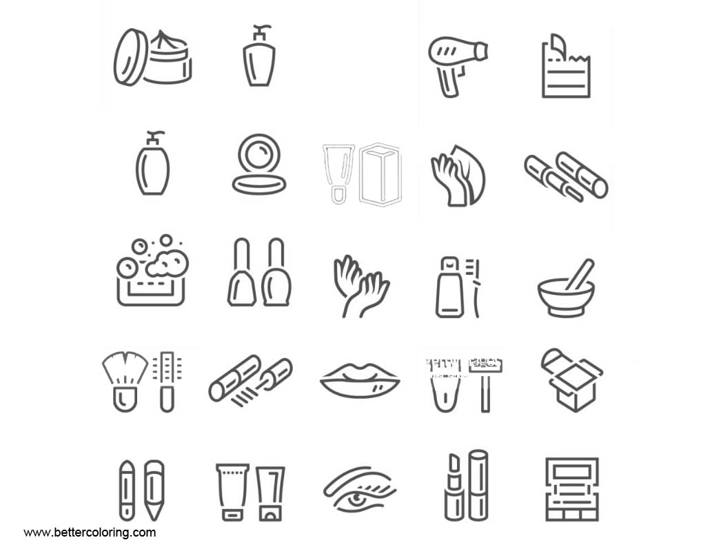 Free Makeup Coloring Pages Icons printable