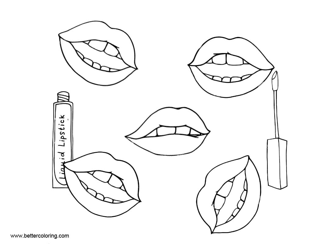 Makeup Coloring Pages Lipsticks