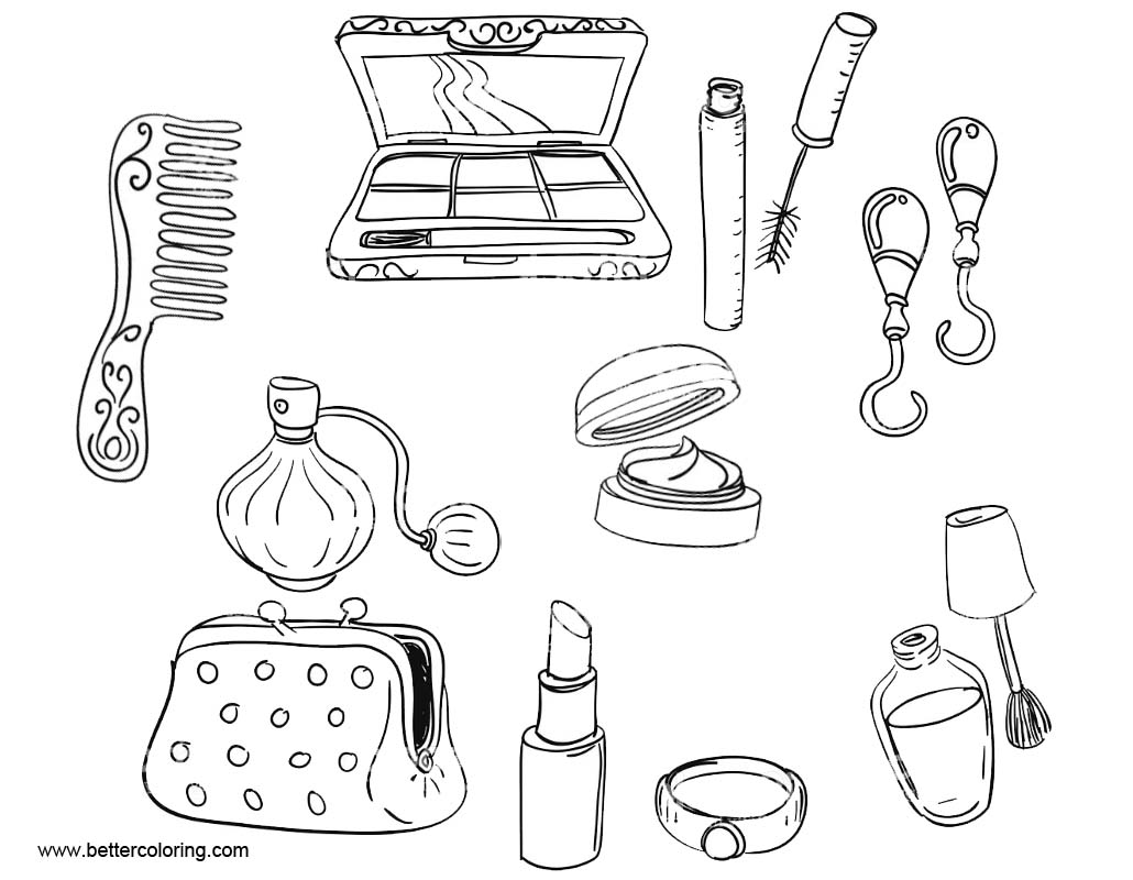 Makeup coloring pages make up tools free printable for Make coloring book pages from photos