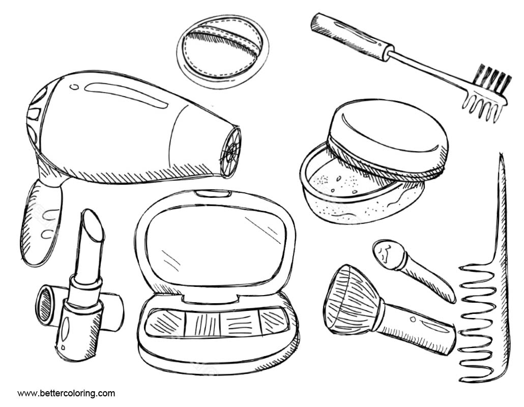 Makeup Coloring Pages Makeup Kit