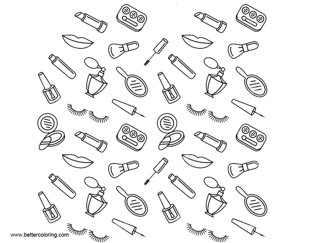 Free Makeup Coloring Pages Seamless Pattern printable