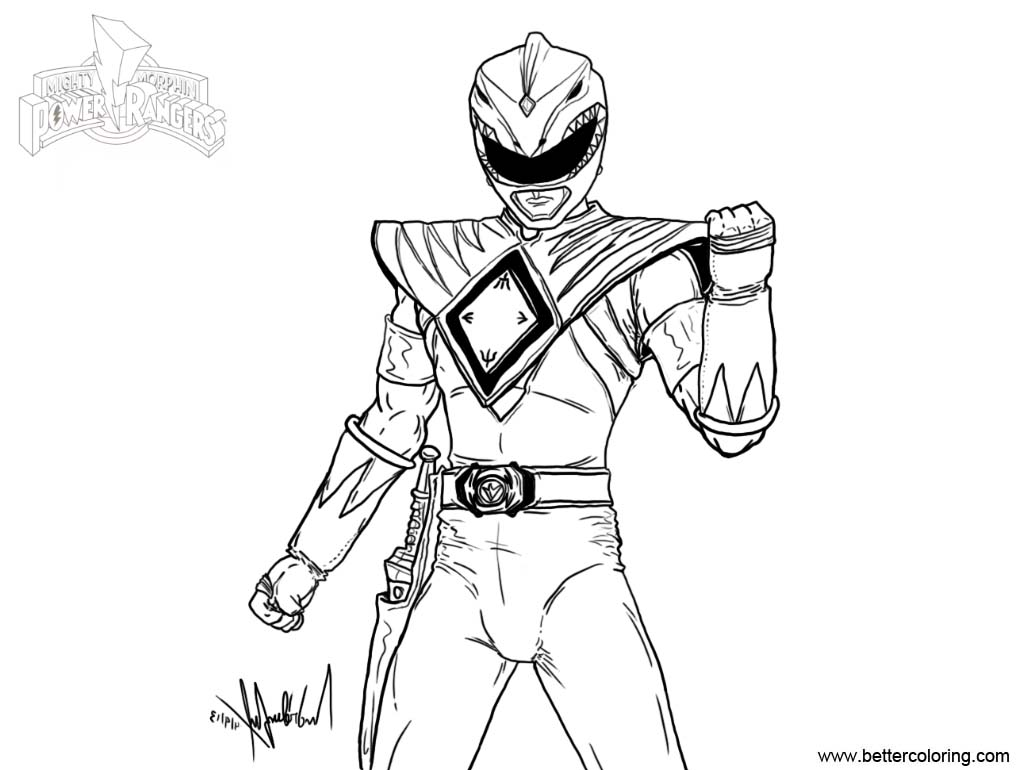 Mighty Morphin Power Rangers Coloring Pages Fan Art Free Printable