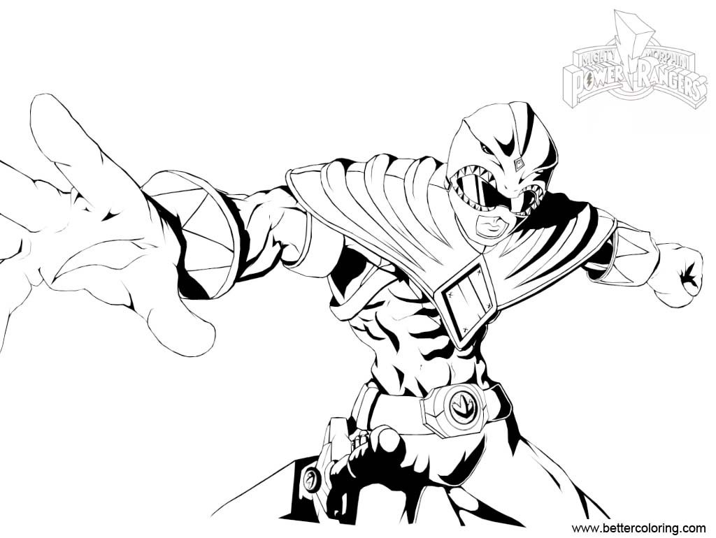 Mighty Morphin Power Rangers Coloring Pages Green Ranger INKED by ...