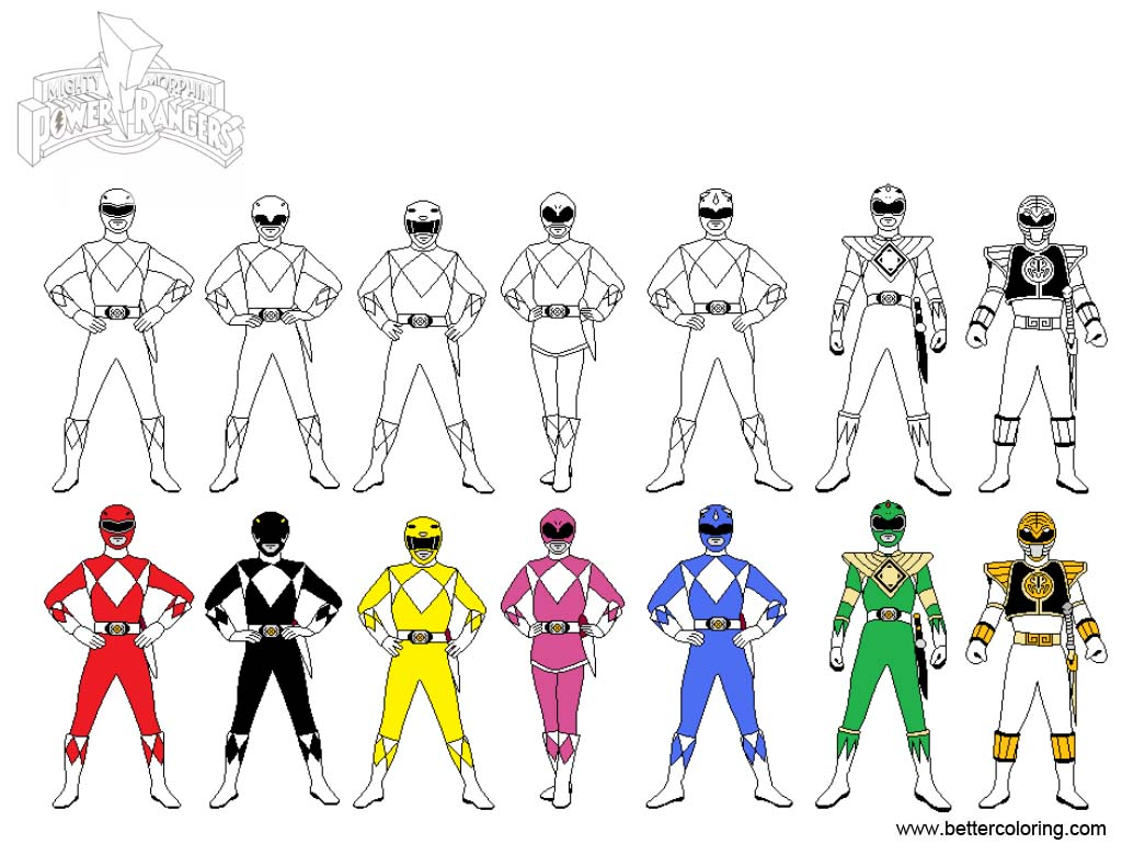 Mighty Morphin Power Rangers Coloring Pages Line Art by Debochira ...