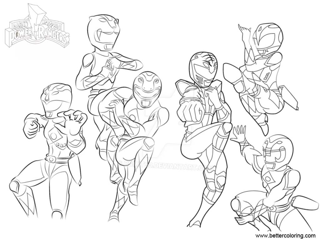Free mighty morphin power rangers coloring pages by bsmit93 printable for kids and adults