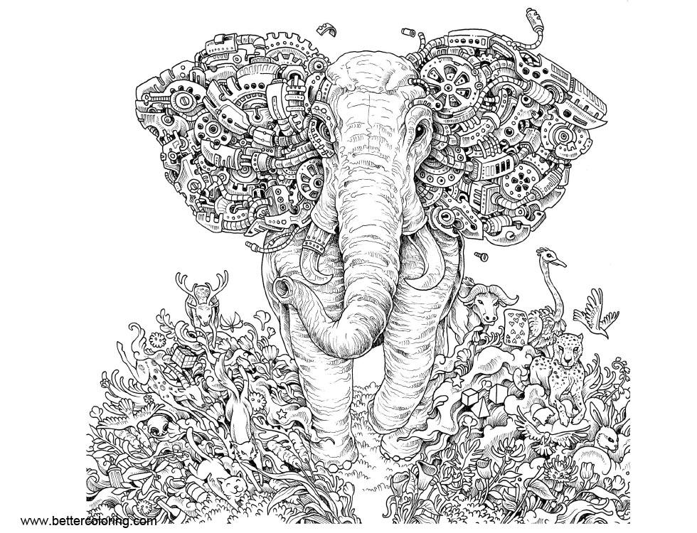 Free Mythomorphia Coloring Pages Elephant printable