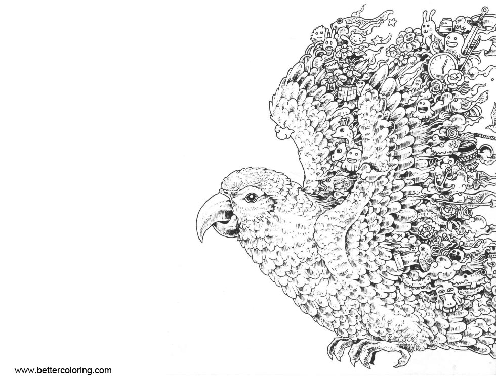Free Mythomorphia Coloring Pages Parrot printable