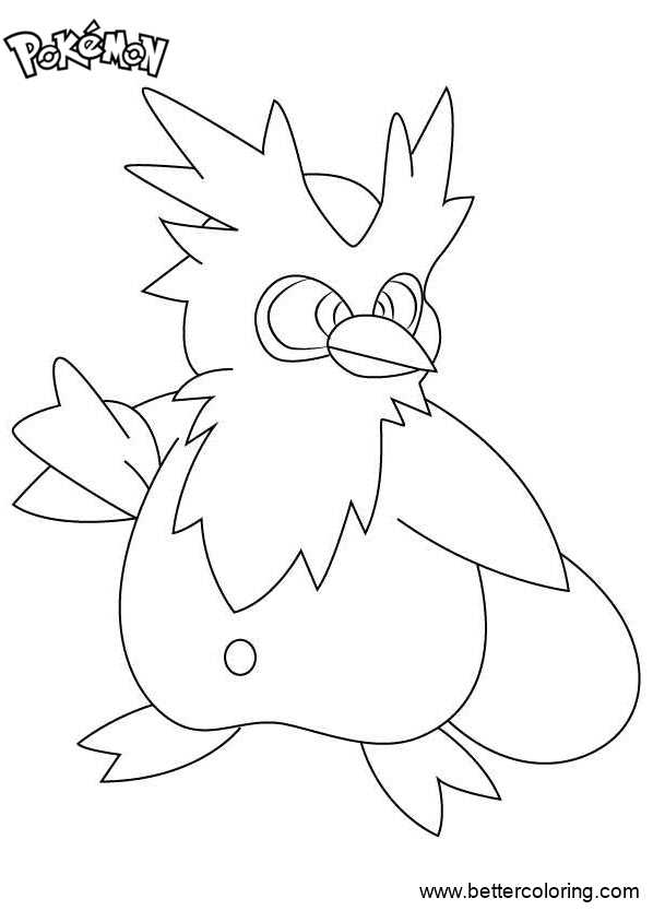 Free Pokemon Coloring Pages Delibird printable