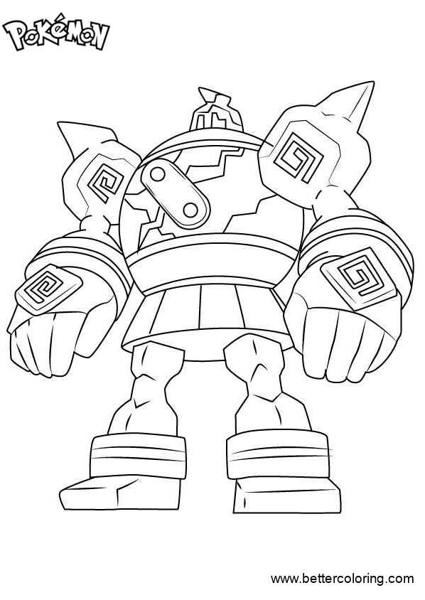 coloring pages and more com | Pokemon Coloring Pages Golurk - Free Printable Coloring Pages
