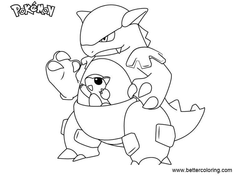 Pokemon Coloring Pages Kangaskhan - Free Printable Coloring Pages