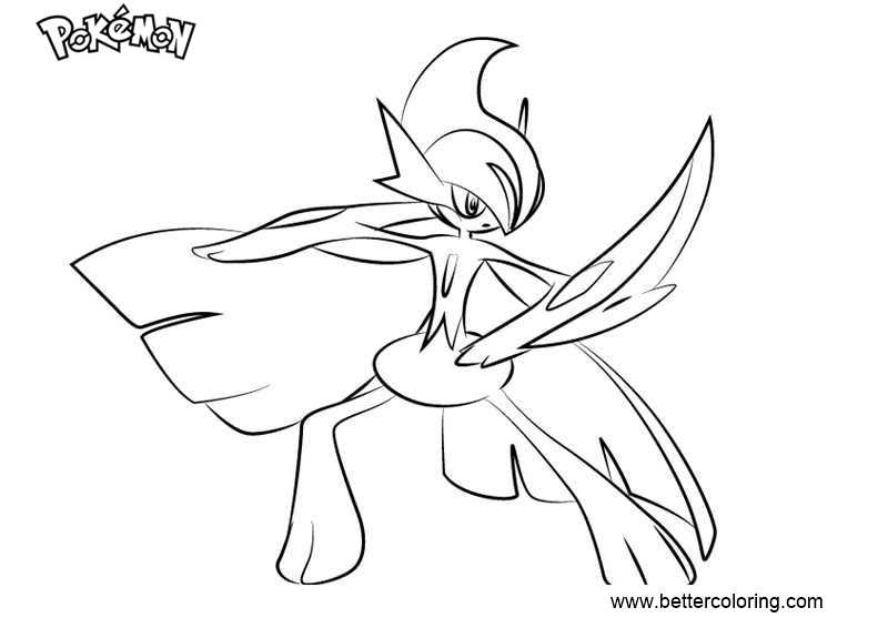 Pokemon Coloring Pages Mega Gallade