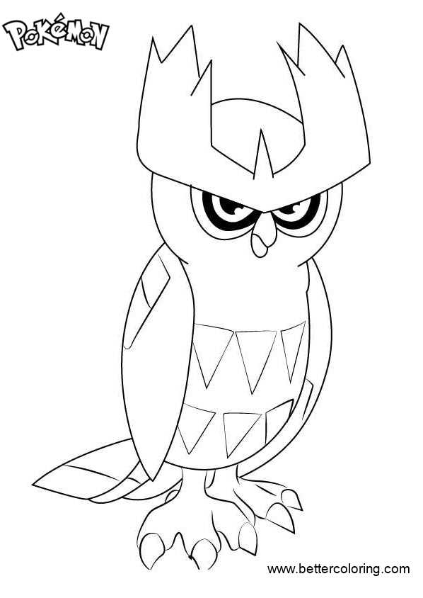 Free Pokemon Coloring Pages Noctowl printable