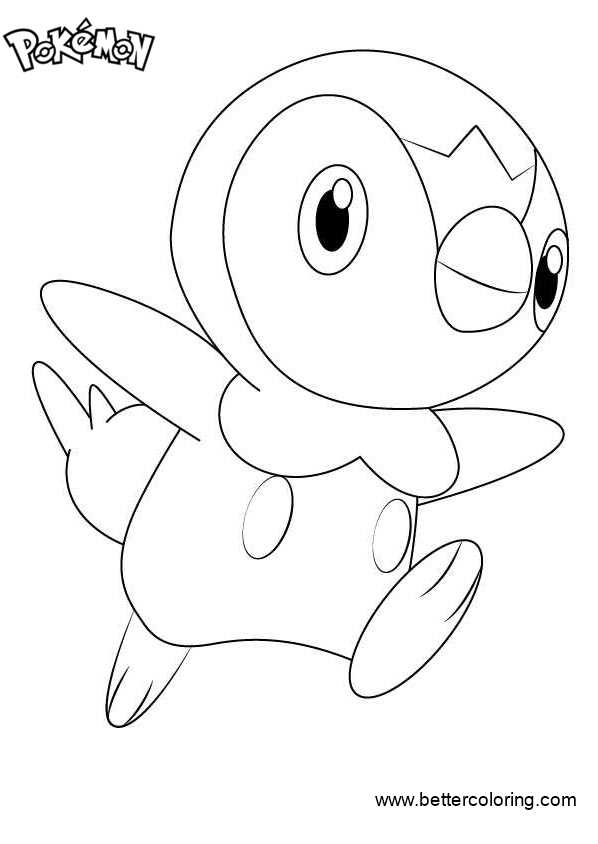 Free Pokemon Coloring Pages Piplup printable