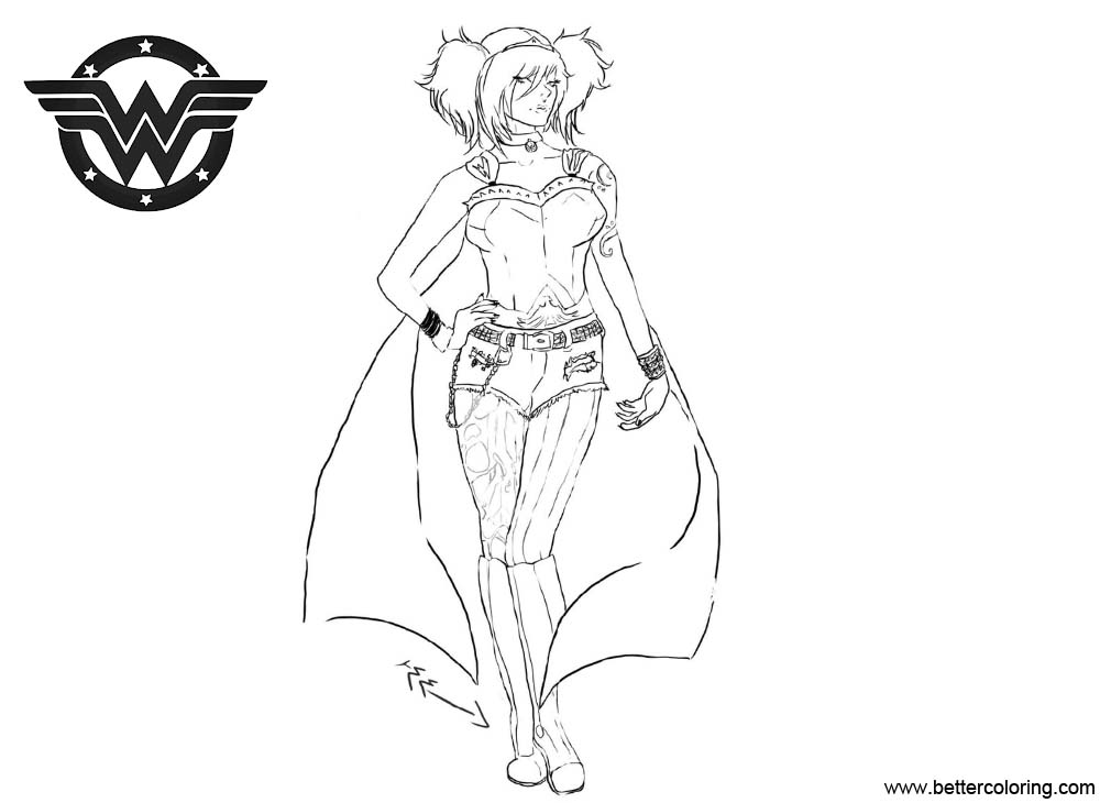 Free Punk Goth Wonder Woman Coloring Pages by a hymn to humanity printable