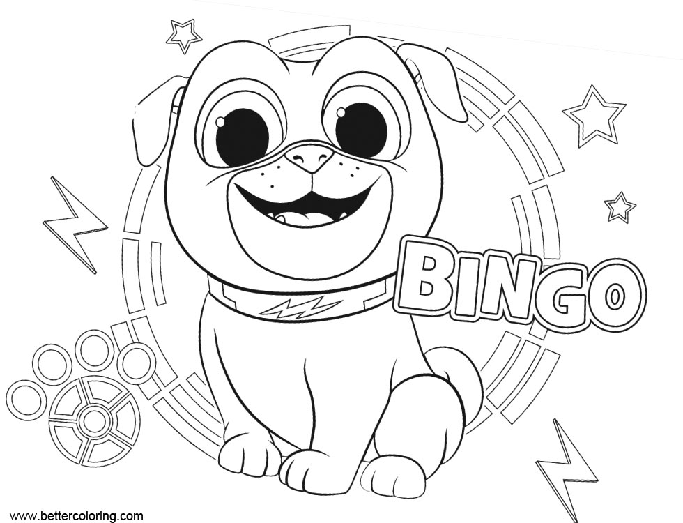 Free Puppy Dog Bingo ARF Coloring Pages printable
