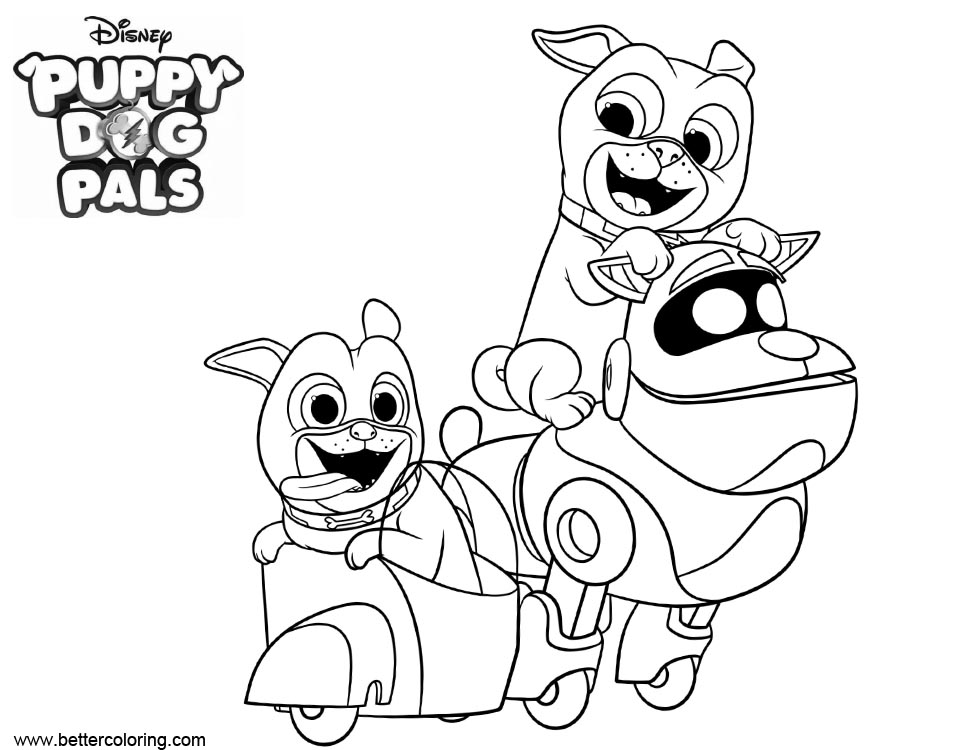 Puppy Dog Bingo Characters Coloring