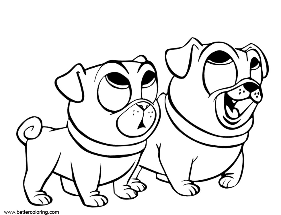 Free Puppy Dog Pals Coloring Pages Two Dogs printable
