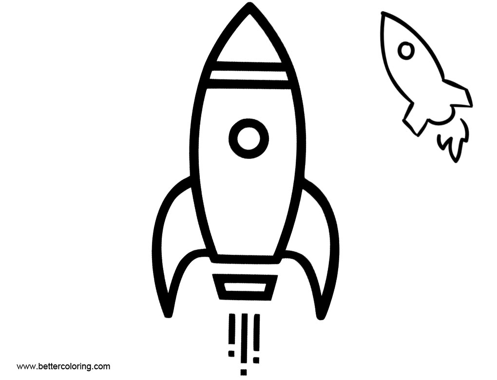 Free Rocket Ship Coloring Pages Black and White printable