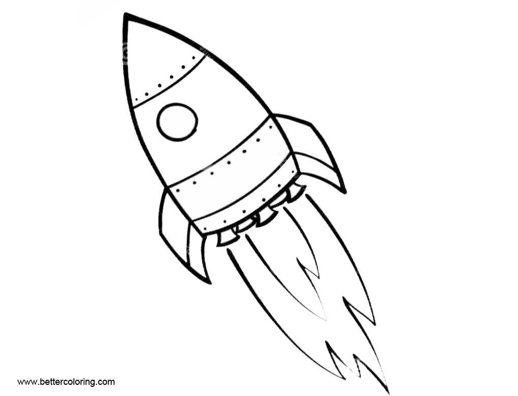 Simple Rocket Ship Drawing Sketch Coloring Page
