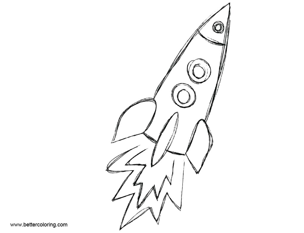 Rocket Ship Coloring Pages Hand Drawing - Free Printable Coloring Pages