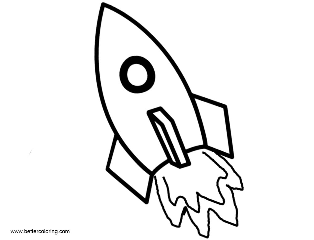 Rocket Ship Coloring Pages Line Drawing