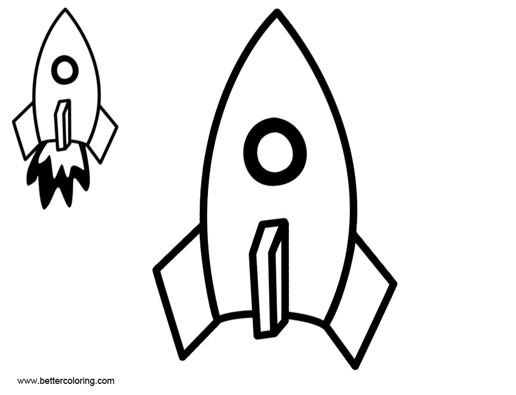 Rocket Ship Coloring Pages Template