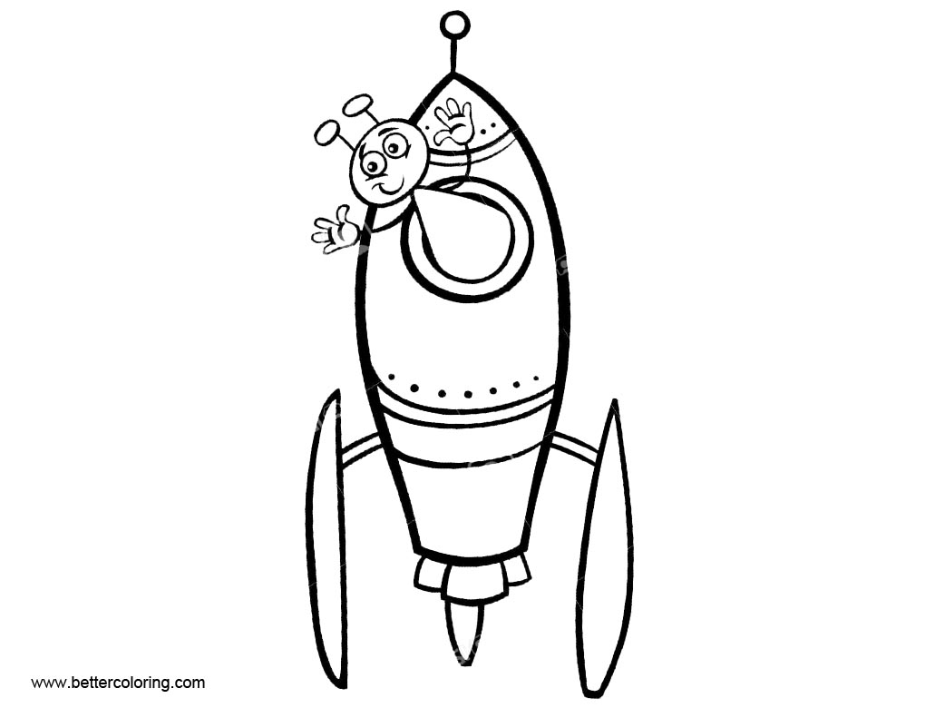 Rocket Ship Coloring Pages with Ant - Free Printable Coloring Pages