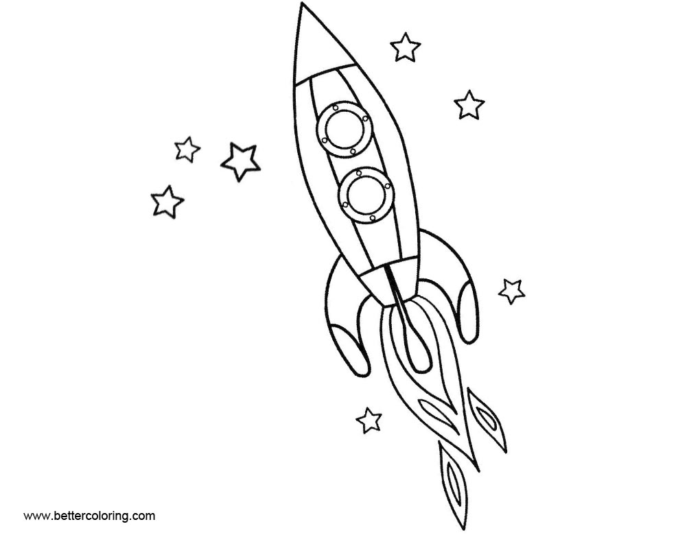 Rocket Ship Coloring Pages With Stars