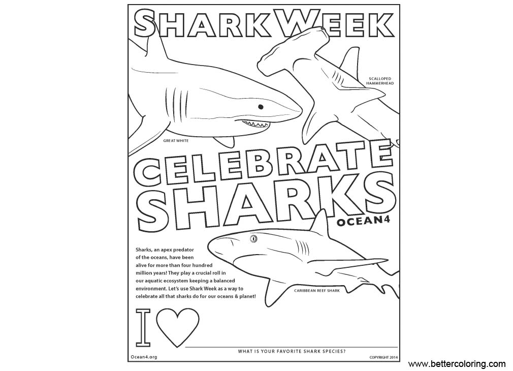 Shark Week Coloring Pages Celebrate Sharks - Free ...