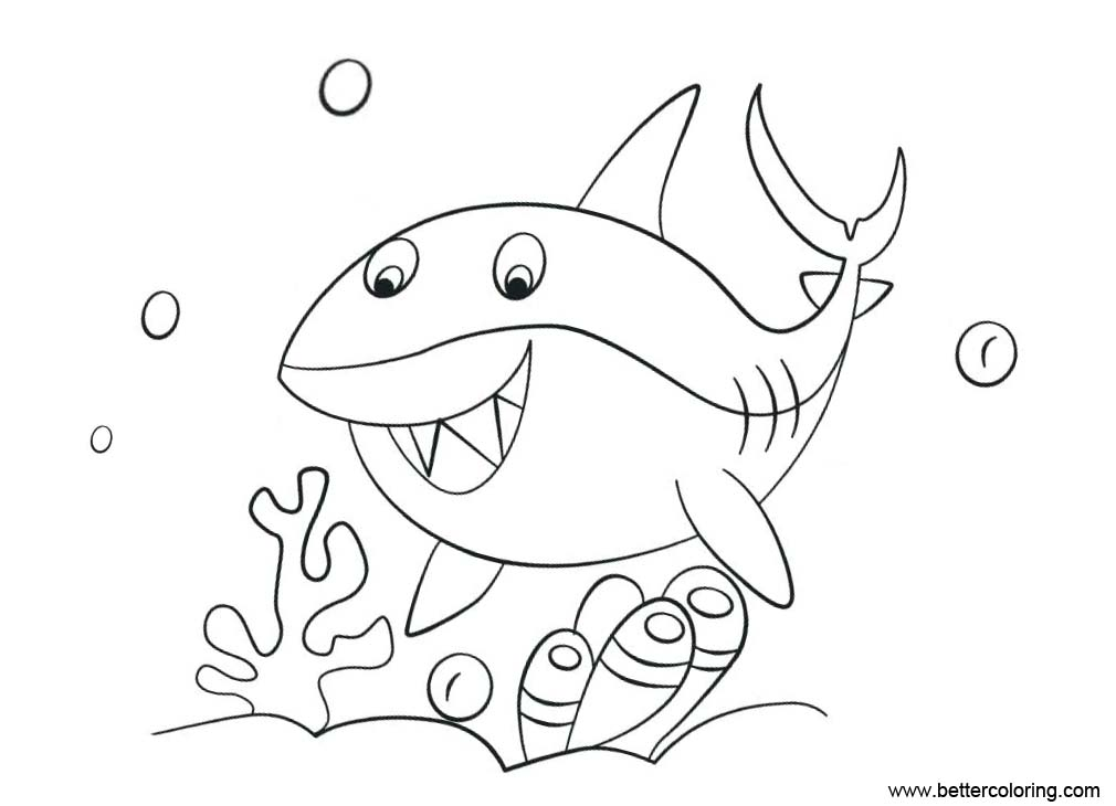 Free Shark Week Coloring Pages Shark Under the Sea printable