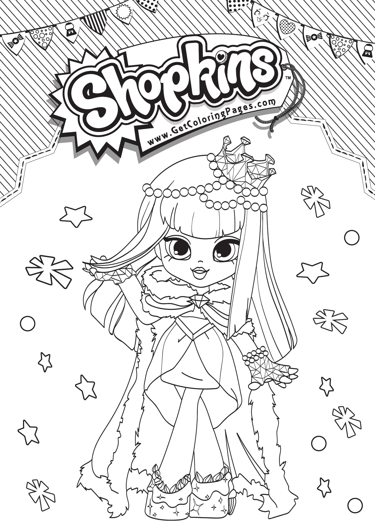 Free Shopkins Shoppies Coloring Pages Gemma Stone printable