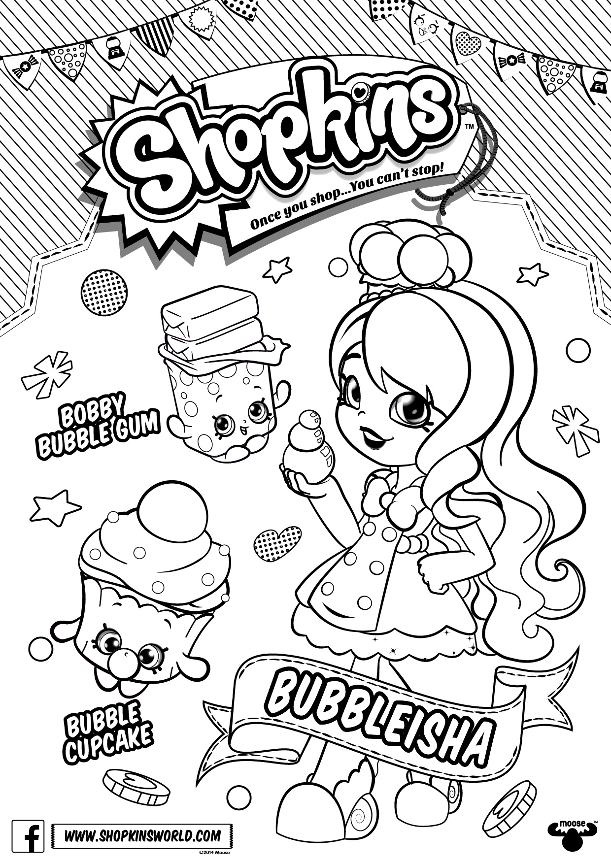 Free Shoppies Coloring Pages Shopkins Lineart printable