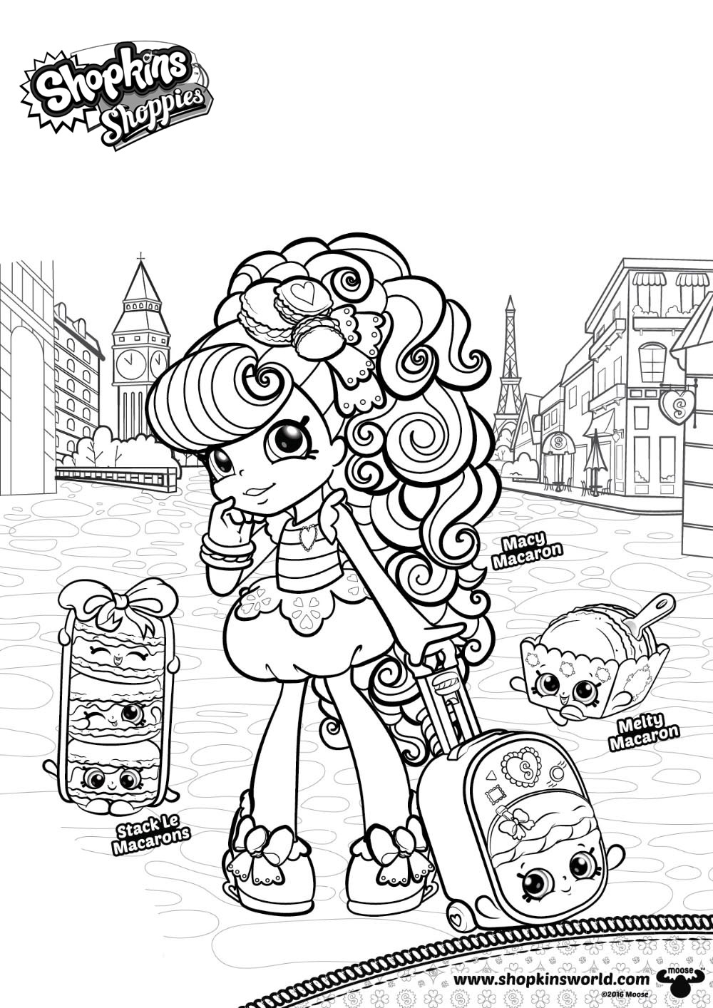 Shoppies Coloring Pages Shopkins Macy Macaron Free Printable
