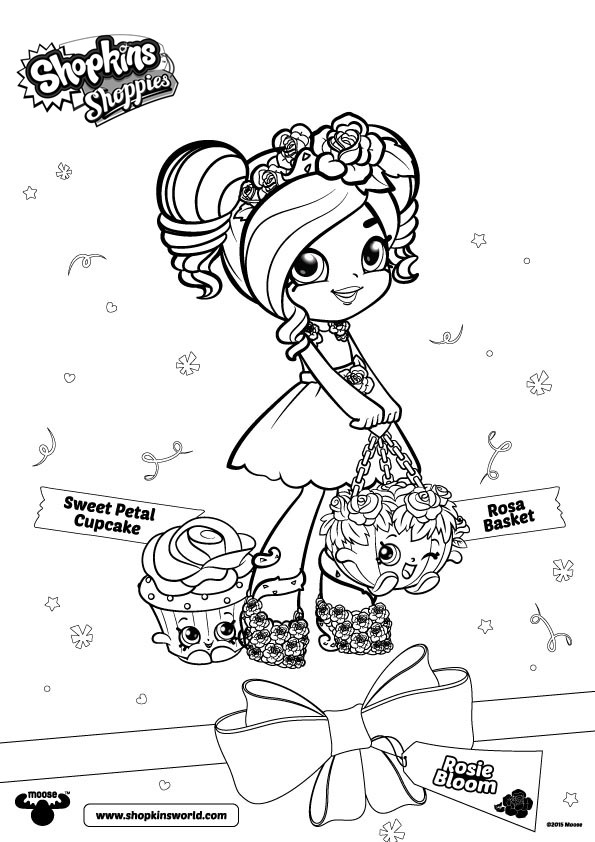 Shoppies Coloring Pages Shopkins Rosie Bloom and Cupcake Free