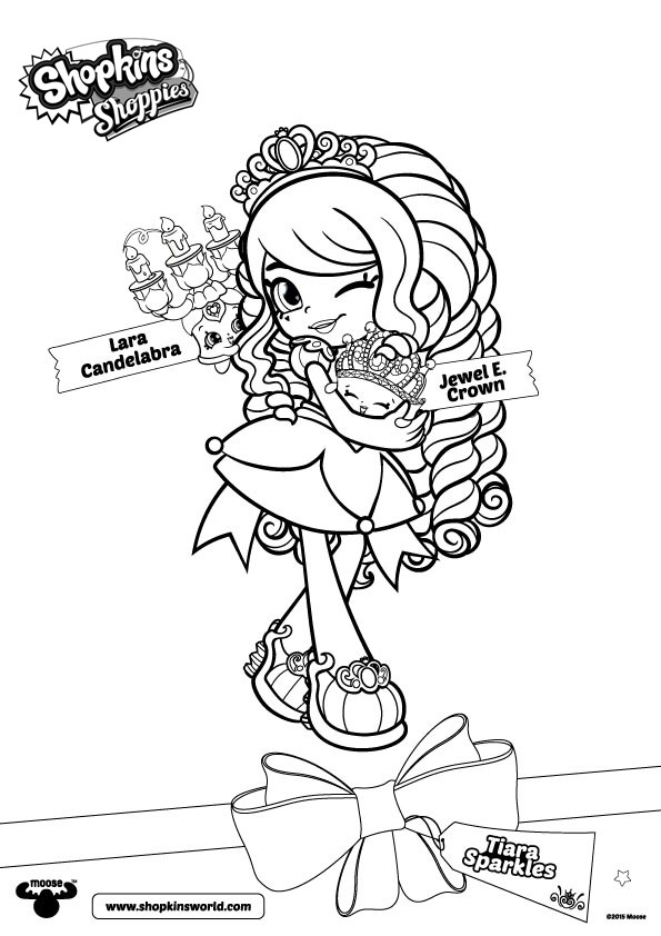 Shoppies Coloring Pages Shopkins Tiara Sparkles Free Printable