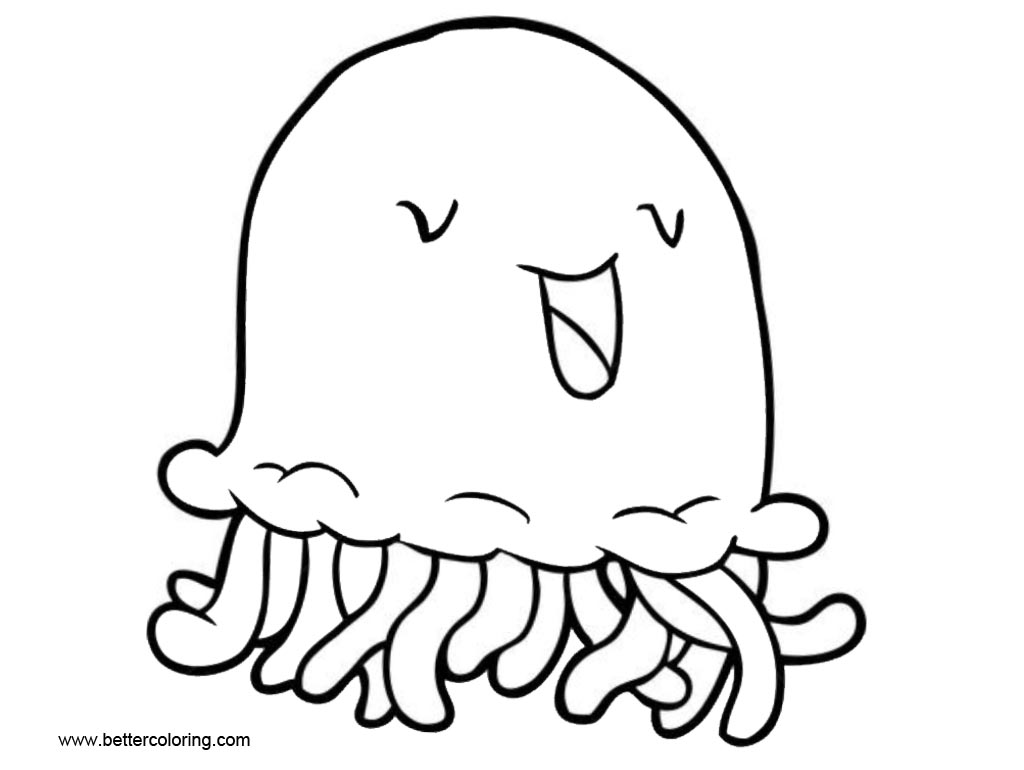 Free Smile Jellyfish Coloring Pages Cartoon Clip Art printable