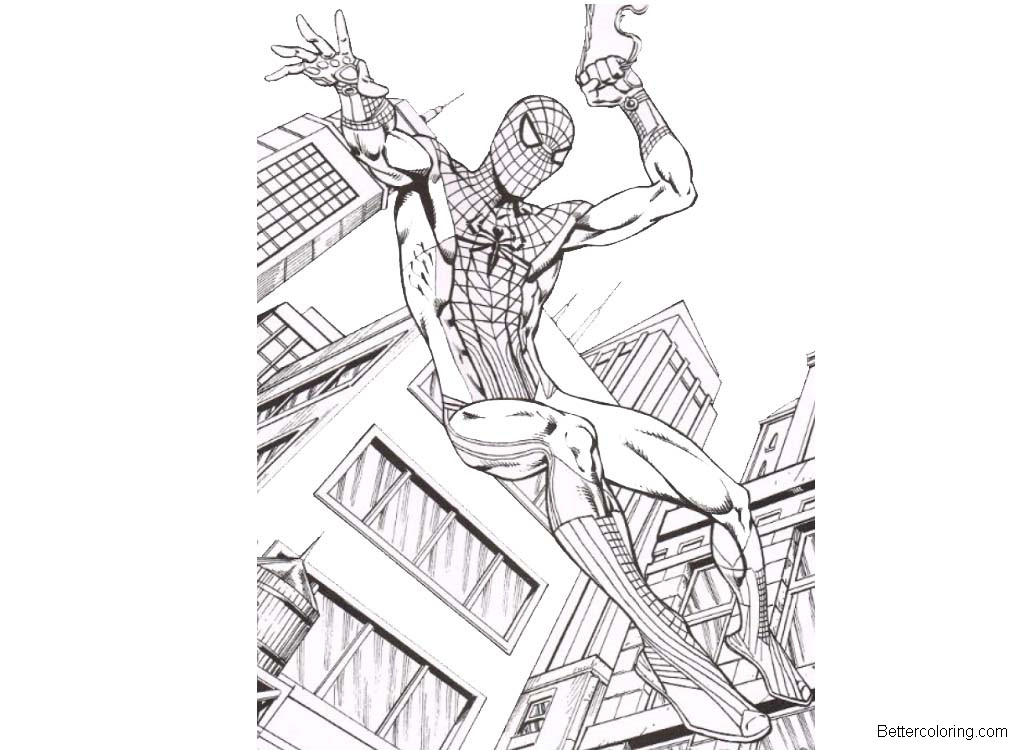 Free Spiderman Homecoming Coloring Pages Flying printable