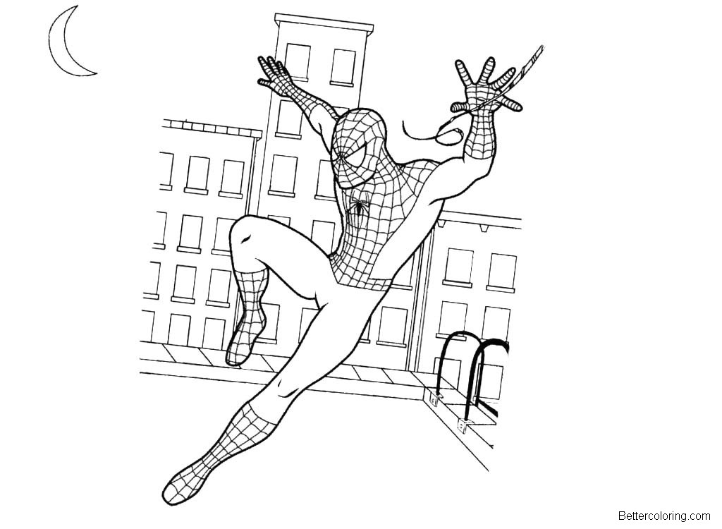 Free Spiderman Homecoming Coloring Pages Under the Moon printable