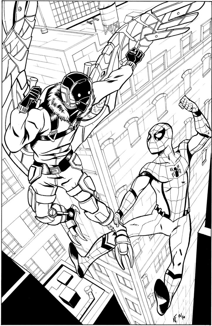 Free Spiderman Homecoming Coloring Pages inks by CrimeRoyale printable