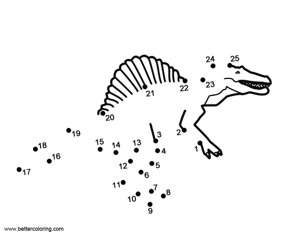 Spinosaurus Coloring Pages Connect The Dots