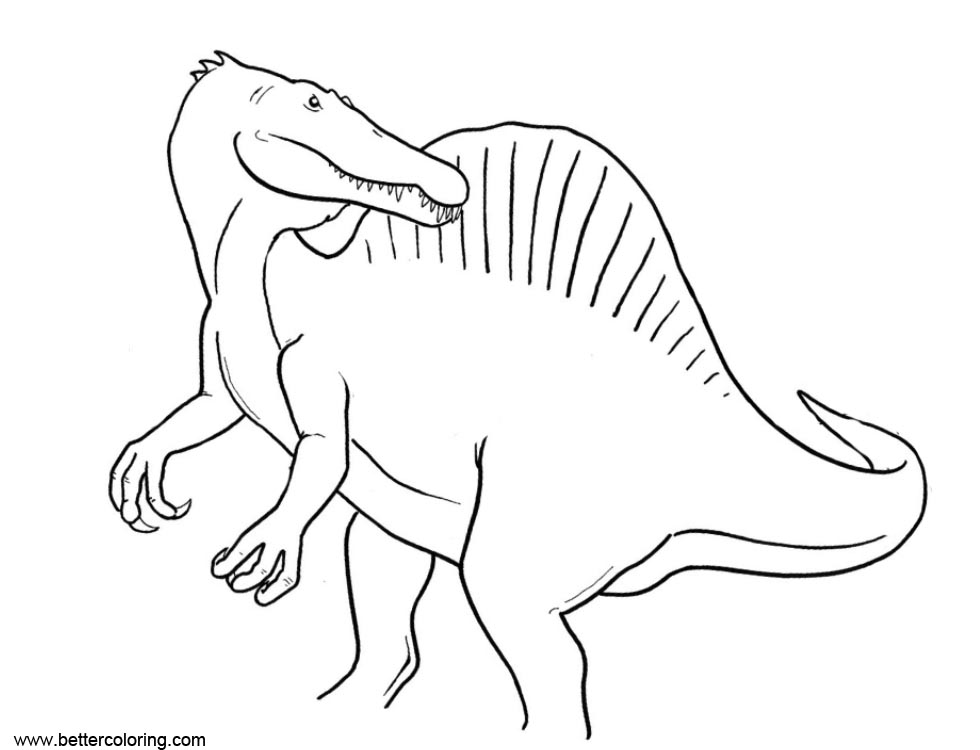 Free Spinosaurus Coloring Pages Looking Back printable
