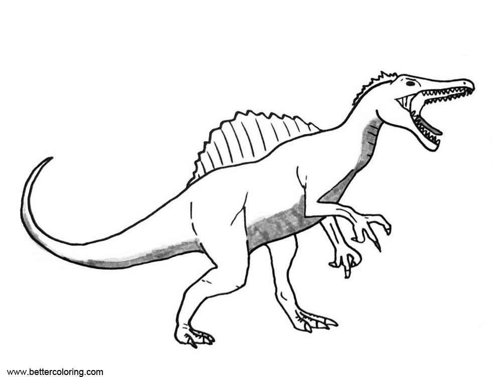 Spinosaurus coloring pages open his mouth free printable for Dinosaur coloring pages spinosaurus