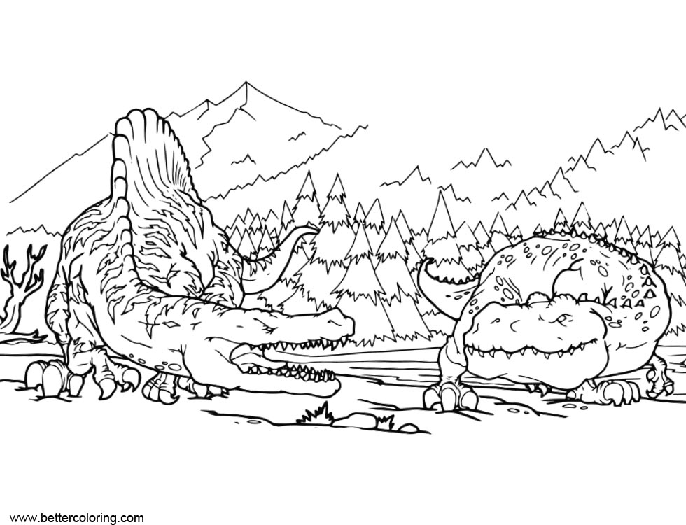 graphic relating to Alligator Printable called Spinosaurus Coloring Internet pages with Alligator - No cost Printable