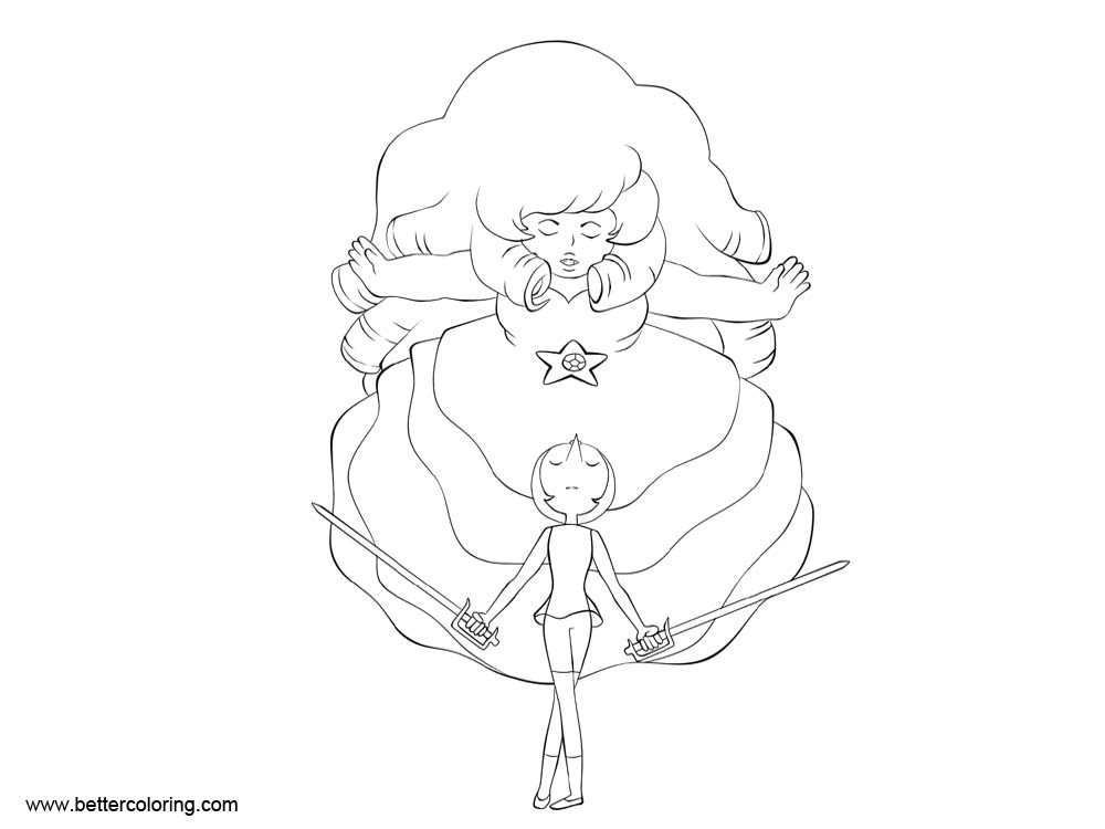 Free Steven Universe Coloring Pages Rose N Pearl LineArt by xXAtroZXx printable