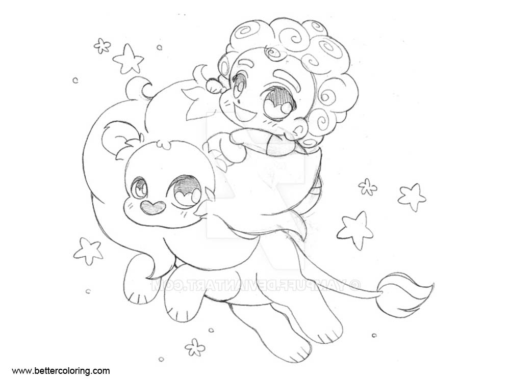 Free Steven Universe Coloring Pages with Lion by yampuff printable
