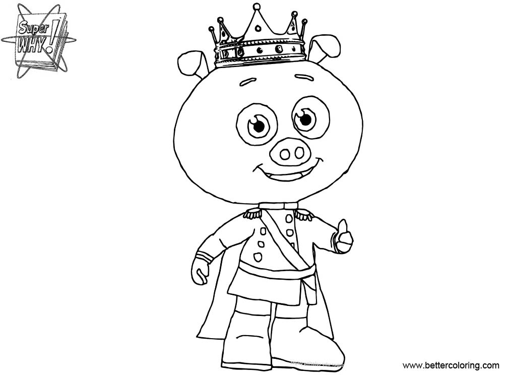 Free Super Why Coloring Pages Prince Pig printable