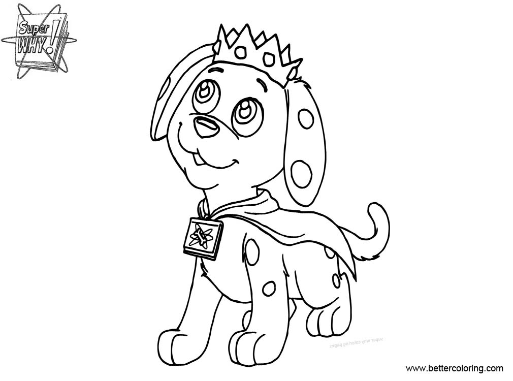 Free Super Why Coloring Pages Prince Puppy Line Drawing printable