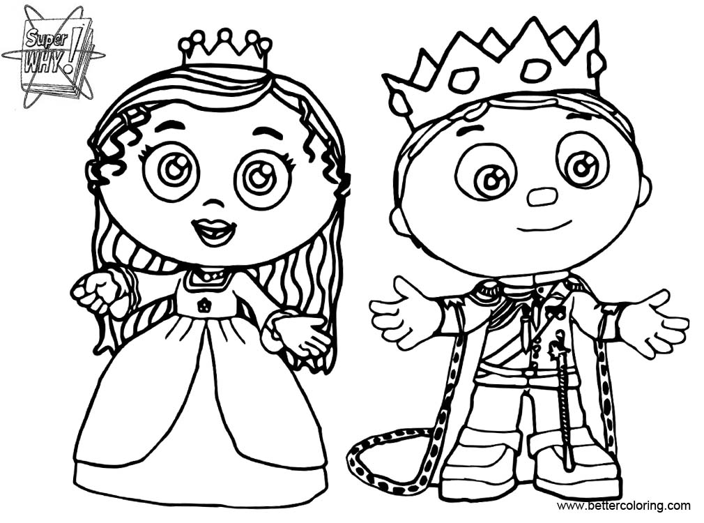 Super Why Coloring Pages Prince Whyatt And Princess Pea Free