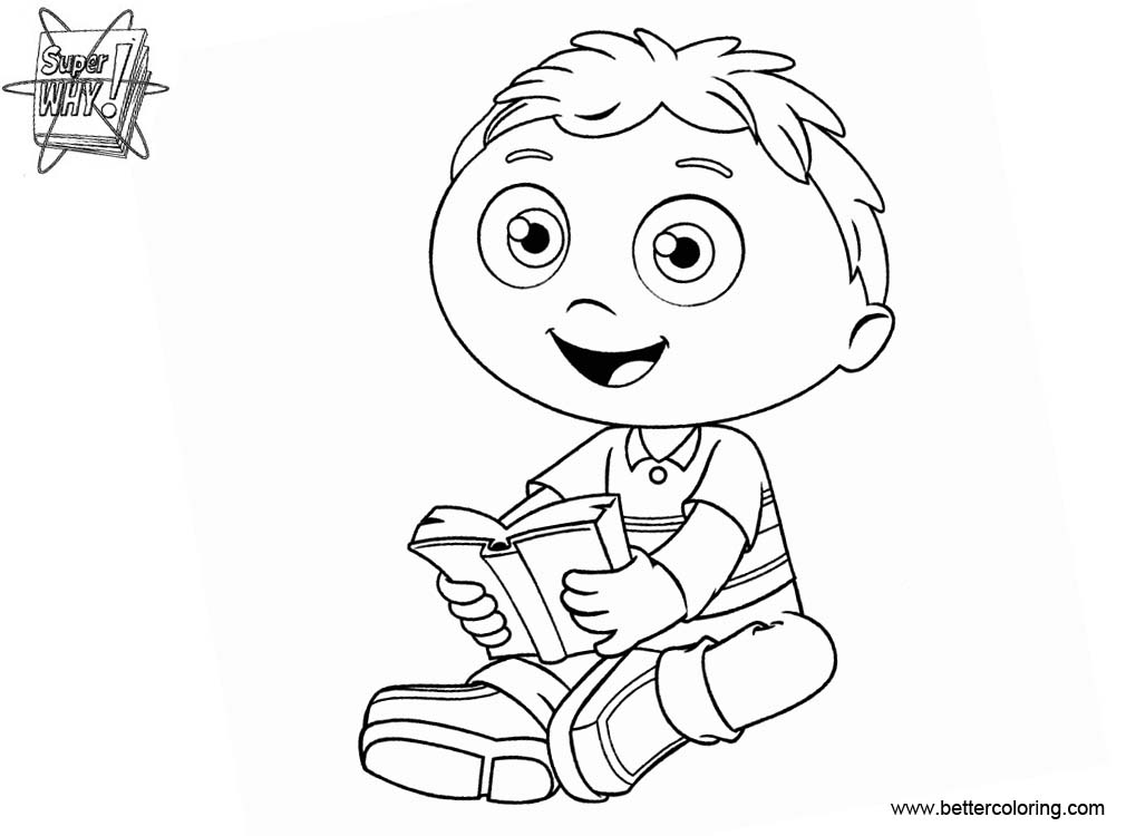 Free Super Why Coloring Pages Reading A Book printable