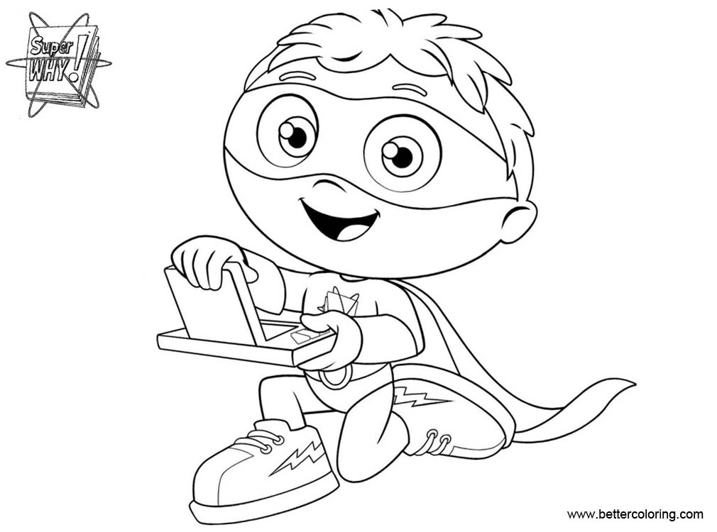 graphic regarding Super Why Printable named Tremendous Why Coloring Internet pages William Line Artwork - Cost-free Printable